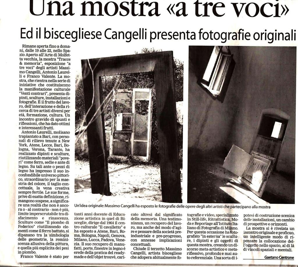"""Una mostra """"a tre voci"""" - La Gazzetta del Nord Barese"""